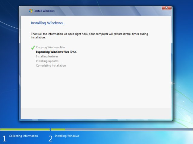 Windows 7 installation guide for Installing new windows