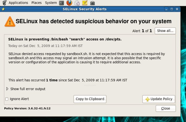 NSA Selinux blocking a possibly malicious script.