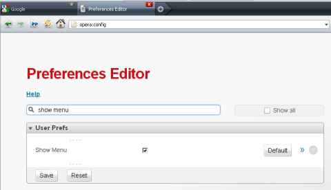 Preferences editor