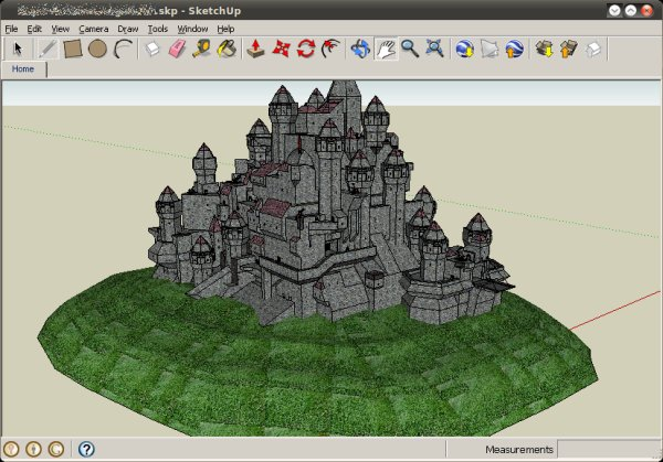 SketchUp editing image of castle