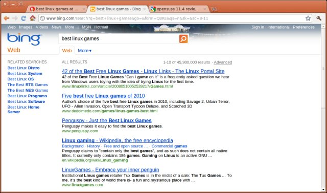 Bing results, games.