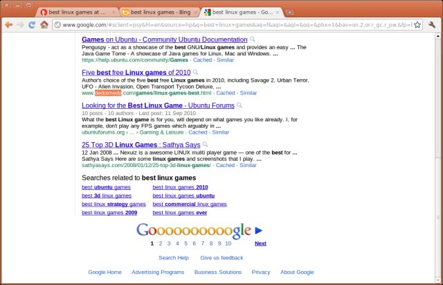 Google results, games