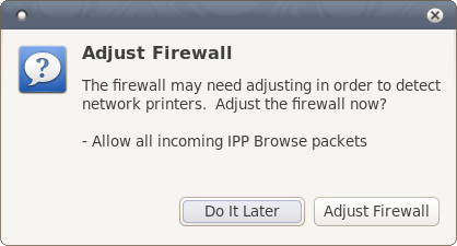 Firewall warning