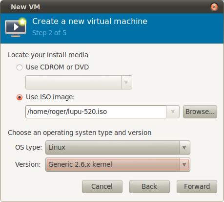 Step 2, os type and version