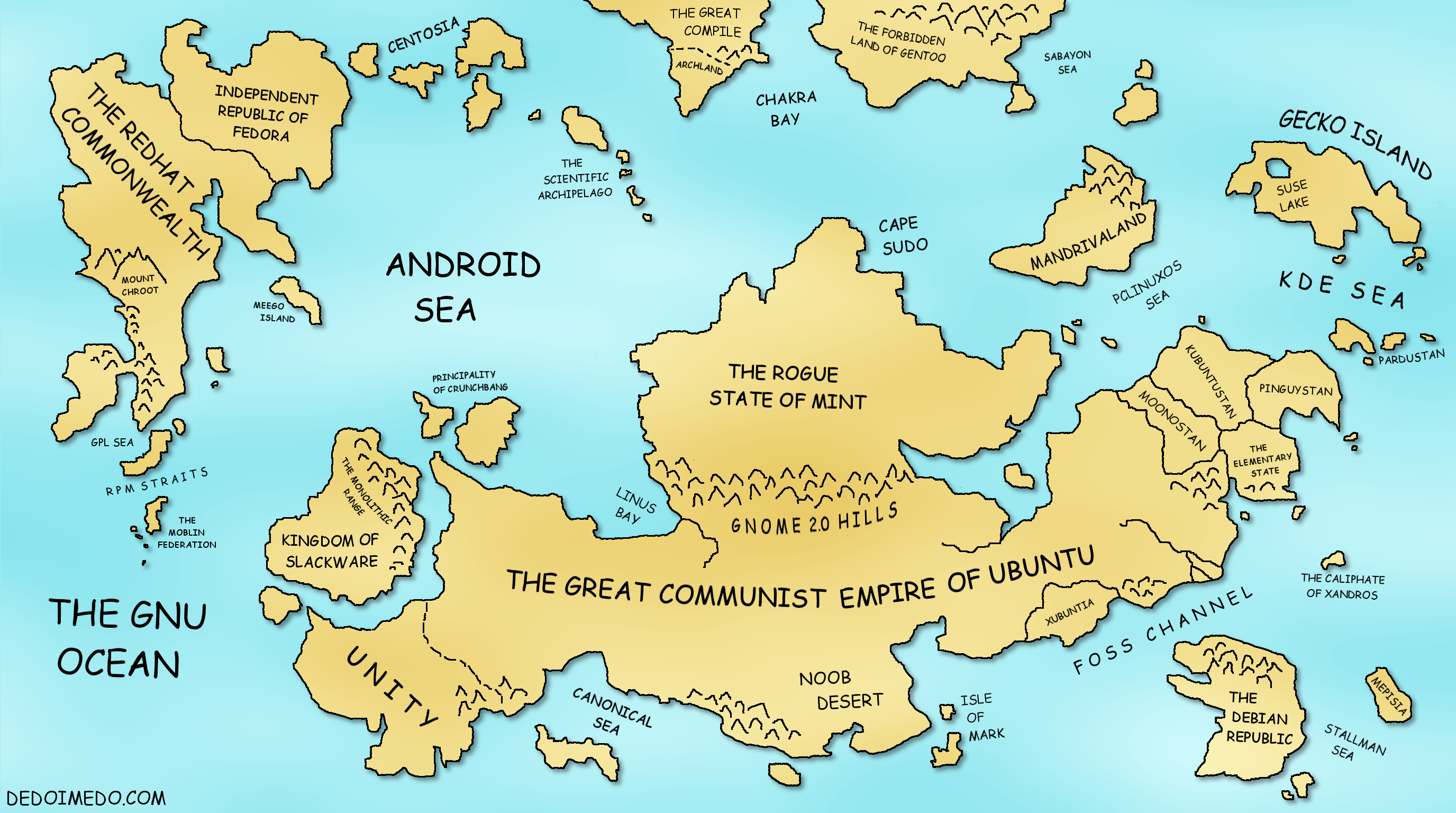 The Great Linux World Map - World map showing seas