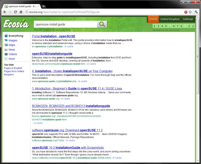 opensuse search, example