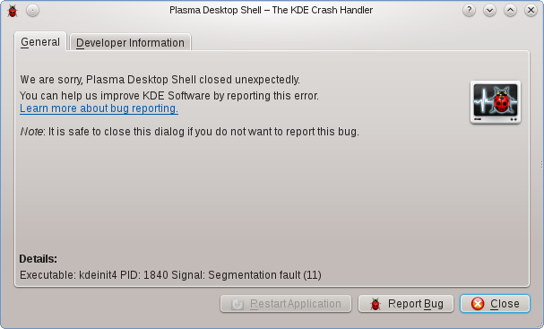 Plasma crash in the Xen desktop
