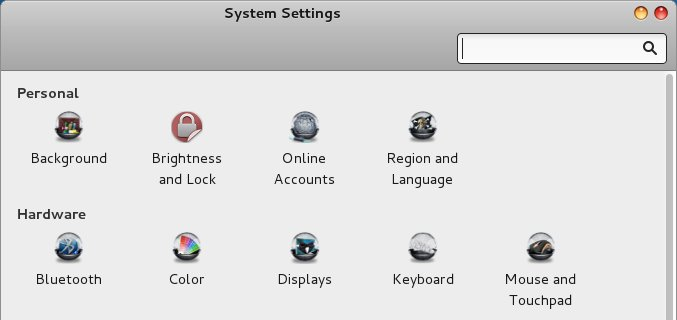 System settings without border