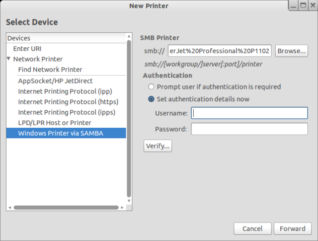 Samba printer configured