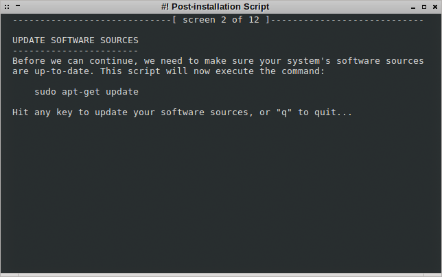 Post script running, system update