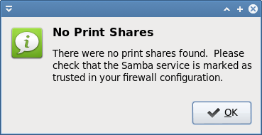 Printing, firewall, no shares found