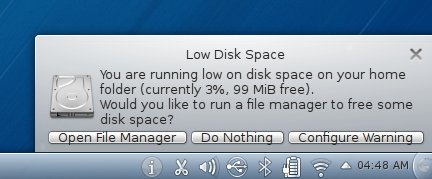 Low disk space warning