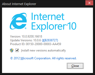 IE10 about window
