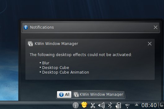 Desktop effects cannot be activated