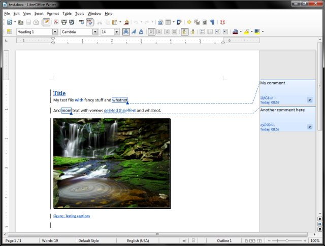 MS DOCX sample in LibreOffice