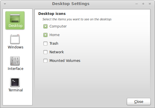 Desktop settings applet