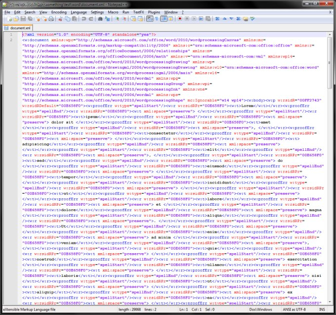 document.xml example