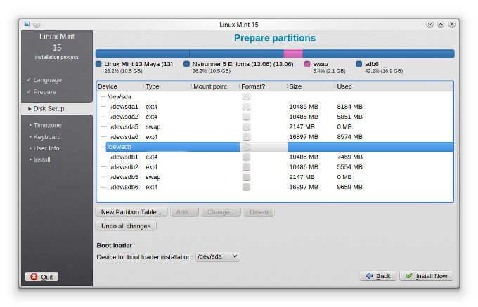 Partition setup