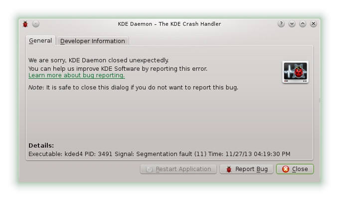 KDE daemon crash