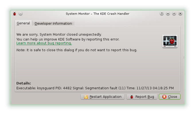 Ksysguard crash