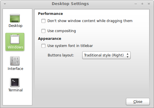 Desktop settings