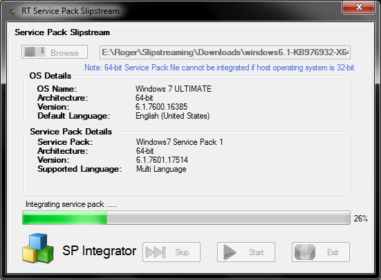 Slipstreaming works on Windows 7