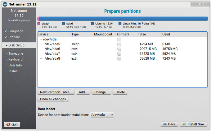 Partitions setup
