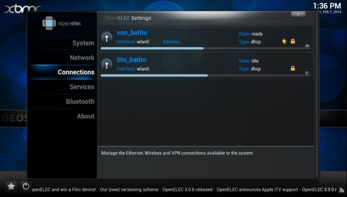 Settings network