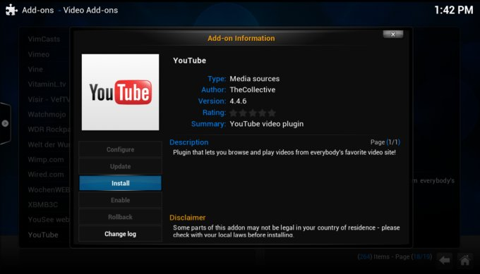 Youtube add-on