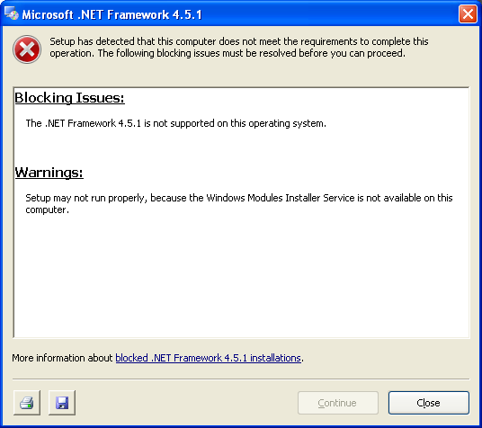 Dotnet 4.5.1 fails on XP