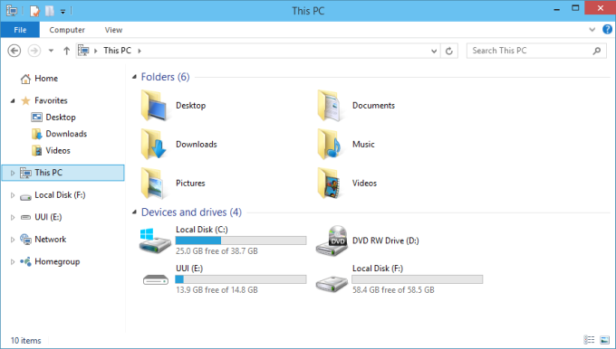Windows Explorer shows new drive
