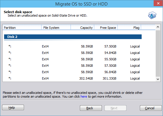 Select disk for migration