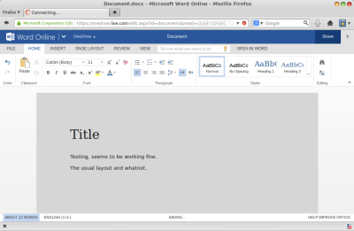 Microsoft Office Online - on Linux!