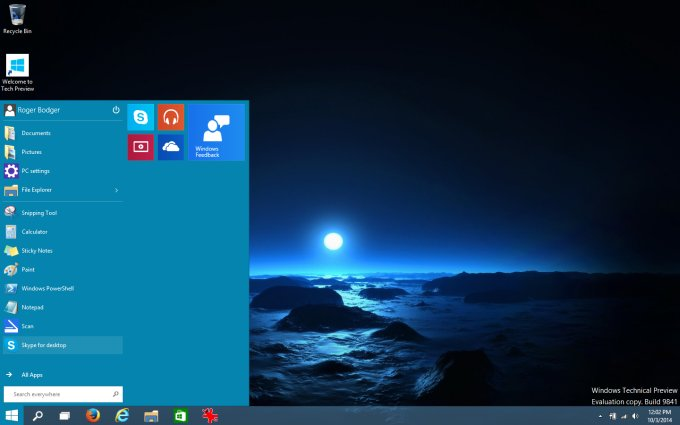 New desktop, with Start menu