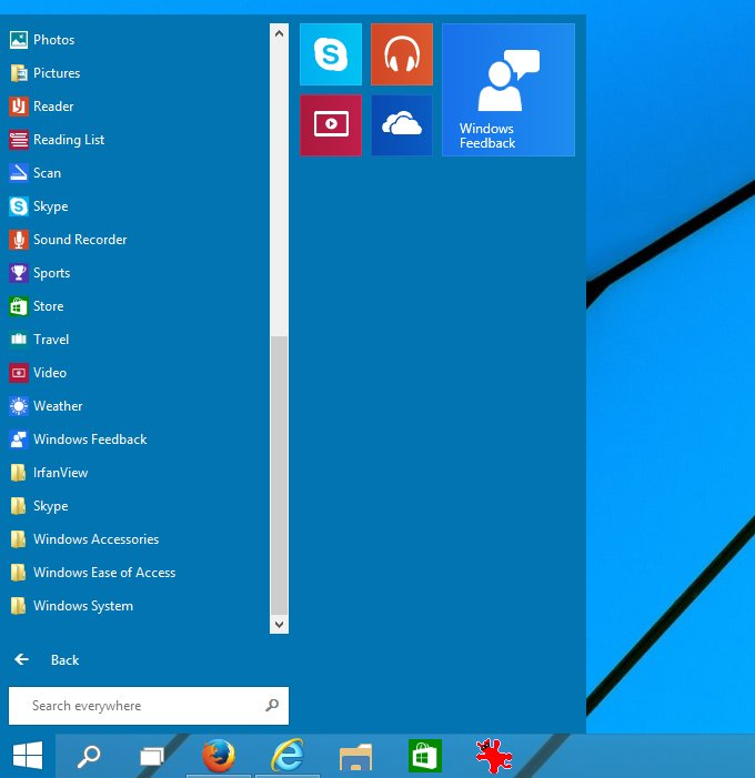 Start menu, all apps