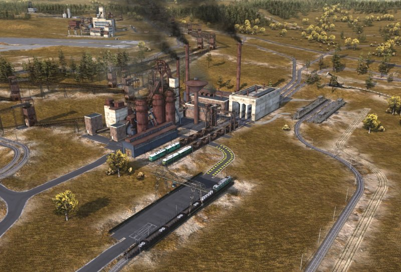 Trains resupplying the steel mill