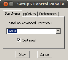 Start menu options