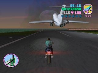 Chasing the plane on a motorbike
