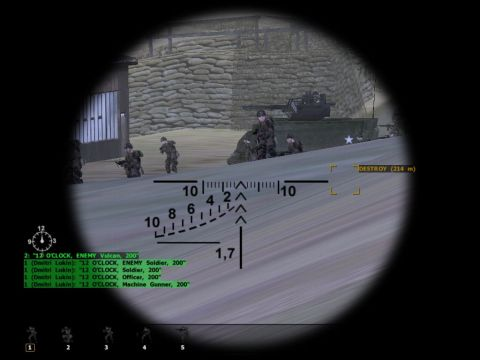 Aiming at enemy soldiers with SVD