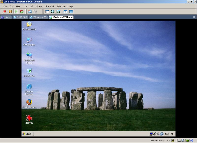 Windows XP desktop inside virtual machine