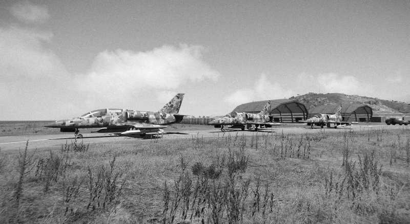 Airplanes, taxiing, b&w