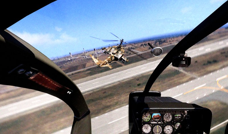 Helicopters dogfighting